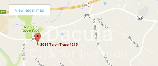 Map for Dacula office location of Hamilton Mill Oral & Facial Surgery, Yadira Cardona-Rohena, DMD